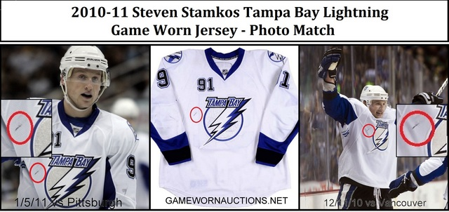 Steven Stamkos Game Worn Jersey Photo Match