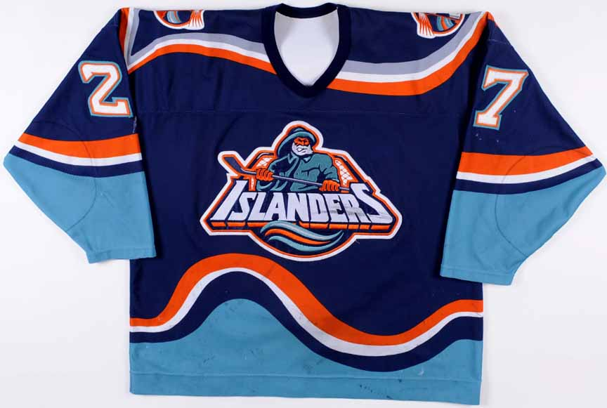 1995 96 Derek King New York Islanders Game Worn Jersey Fisherman