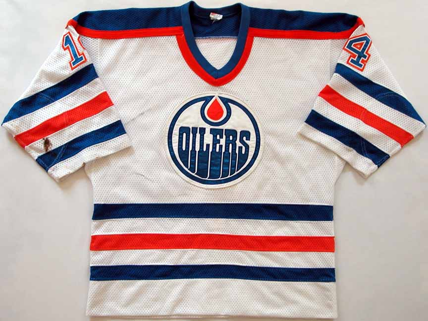 brand new 5c7e4 d349e 1983-84 Ray Cote Edmonton Oilers Game Worn Jersey - Stanley ...