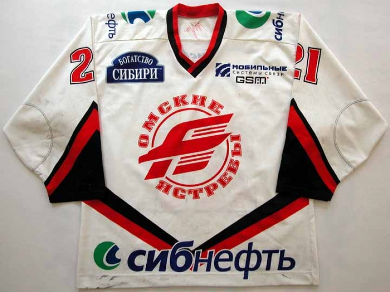 2001-02 Dan Kesa Omsk Avangard Game Worn Jersey - Lutch International Letter 8629bb3bae1