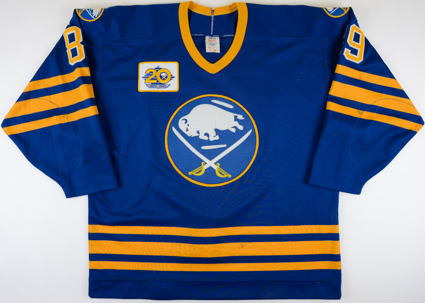 "80652115f 1989-90 Alexander Mogilny Buffalo Sabres Game Worn Jersey – Rookie – ""20-"