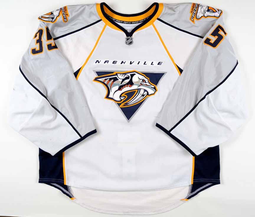 sale retailer 51b47 c6399 2008-09 Pekka Rinne Nashville Predators Game Worn Jersey ...