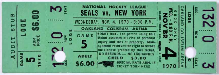 1970-71 California Golden Seals Full Ticket