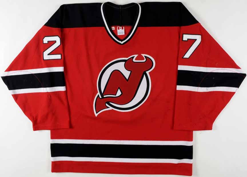 32c3920ee 2001-02 Scott Niedermayer New Jersey Devils Game Worn Jersey - Team Letter