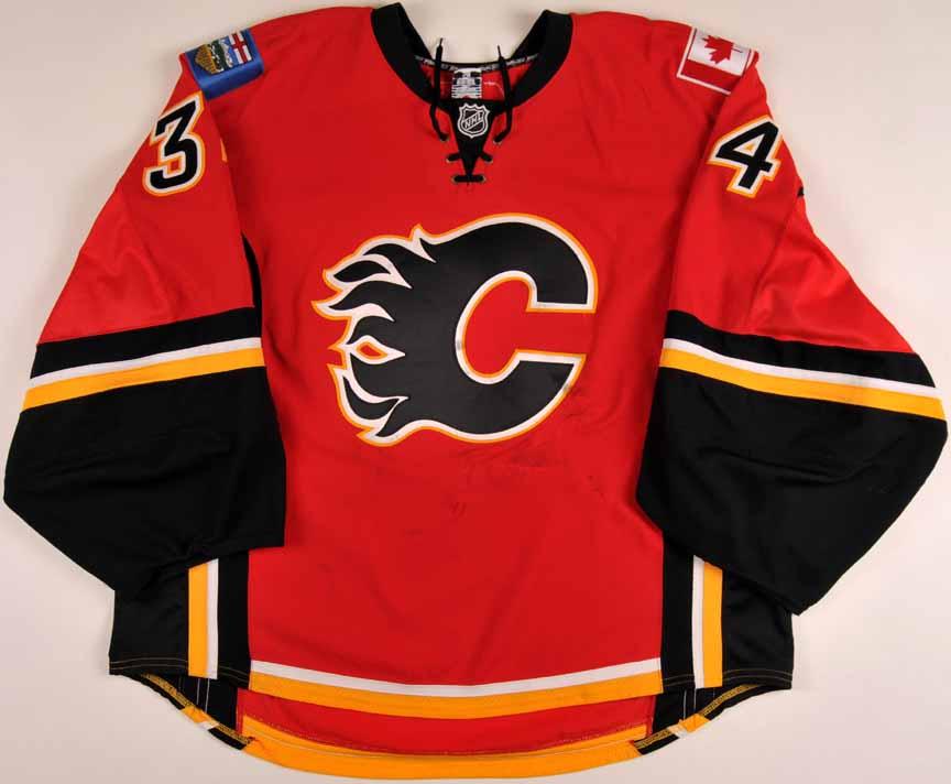 5a0e1e8da 2008-09 Miikka Kiprusoff Calgary Flames Game Worn Jersey - Photo Match -  Team Letter