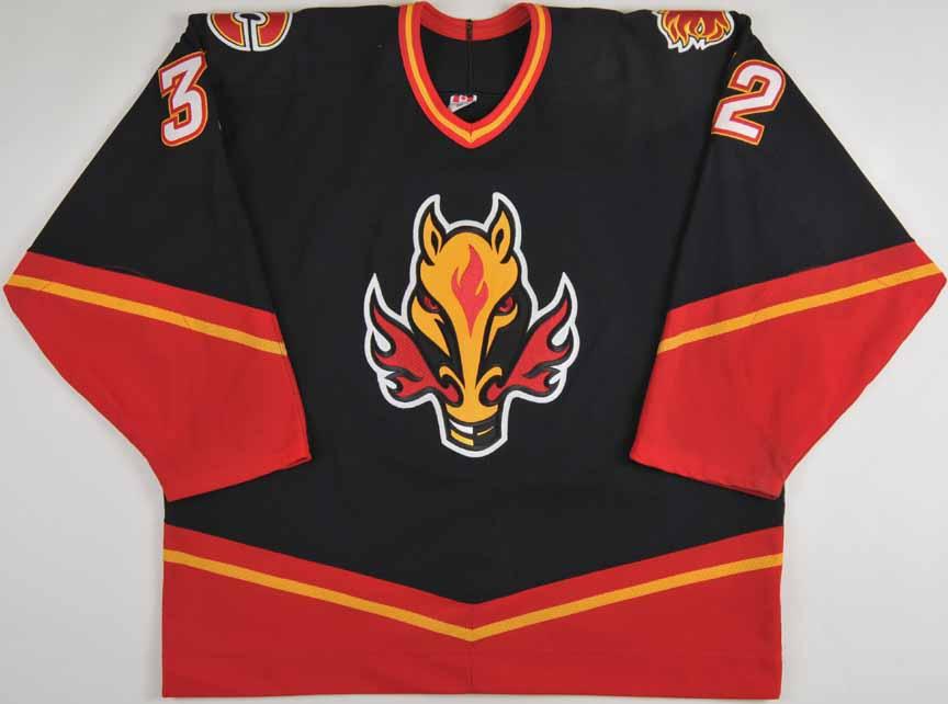 2003 04 Toni Lydman Calgary Flames Game Worn Jersey Alternate