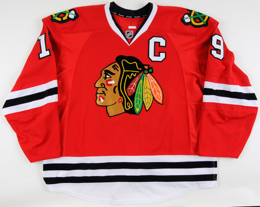 official photos 9044a 8b954 2011-12 Jonathan Toews Chicago Blackhawks Game Worn Jersey ...