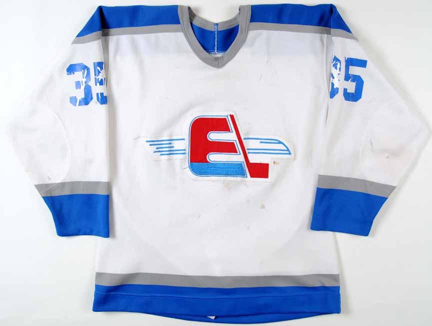 1982 83 Clint Malarchuk Fredericton Express Game Worn Jersey