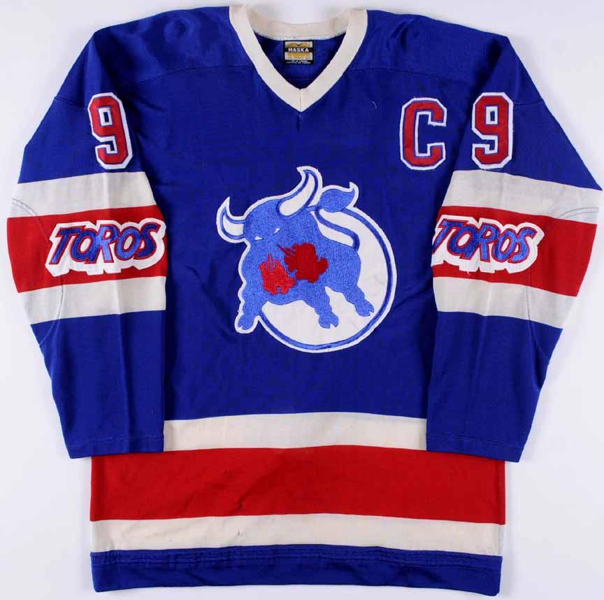 197374 wayne carleton wha toronto toros game worn jersey