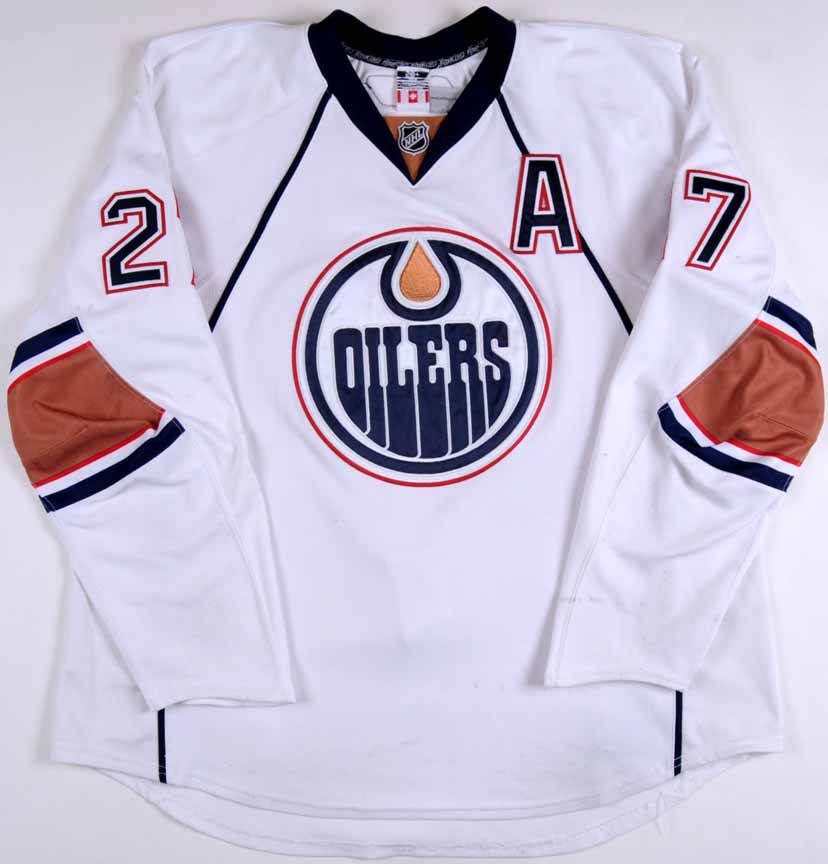 2009 10 Dustin Penner Edmonton Oilers Game Worn Jersey Team Letter Gamewornauctions Net