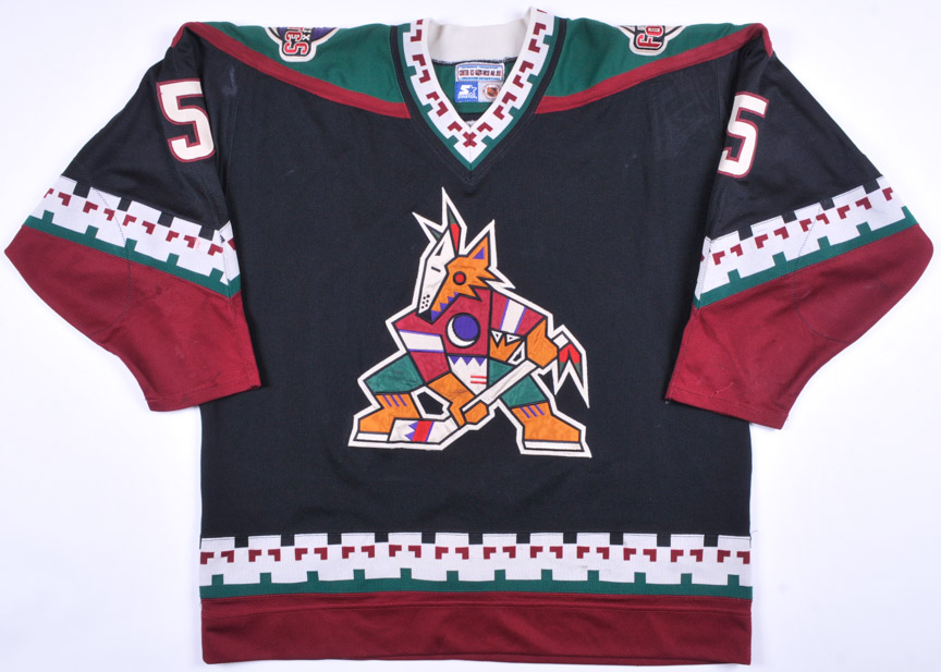 3786f9062 1996-97 Deron Quint Phoenix Coyotes Game Worn Jersey - Inaugural Season
