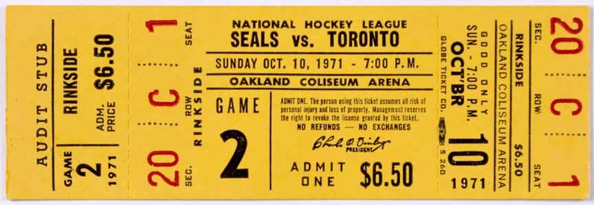 1971-72 California Golden Seals Full Ticket