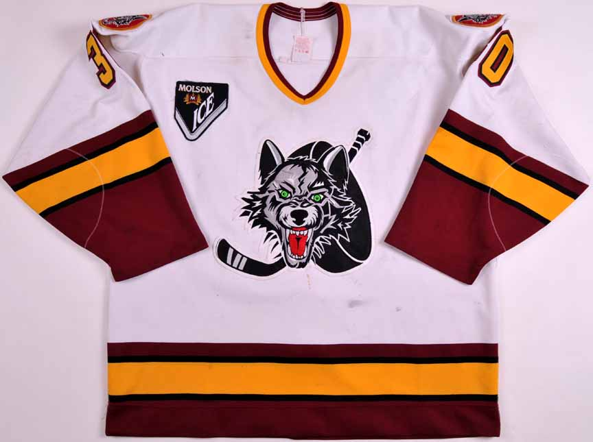 Mid 1990 s Ray LeBlanc Chicago Wolves Game Worn Jersey ... eb251348b37