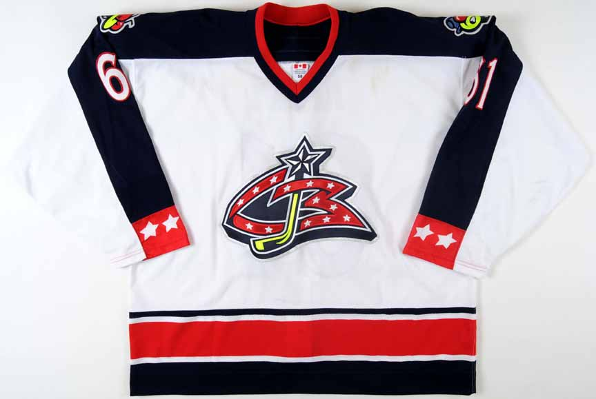 check out 42c7f 31230 2002-03 Rick Nash Columbus Blue Jackets Game Worn Jersey ...