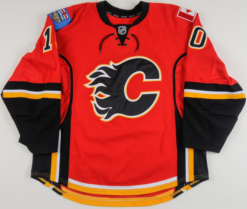 2013-14 Corban Knight Calgary Flames Game Worn Jersey