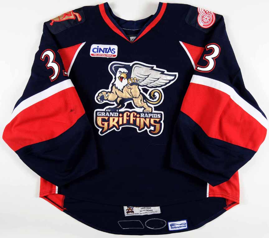 new arrivals 601ea 6b3a2 2008-09 Jimmy Howard Grand Rapid Griffins Game Worn Jersey ...