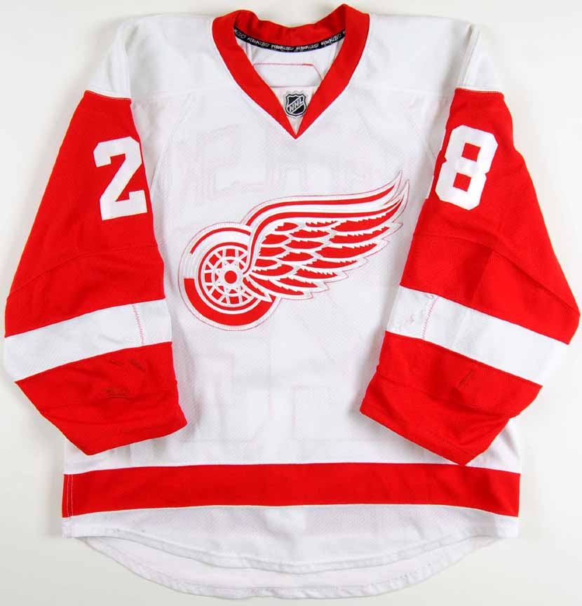 2008 09 brian rafalski detroit red wings game worn jersey team letter