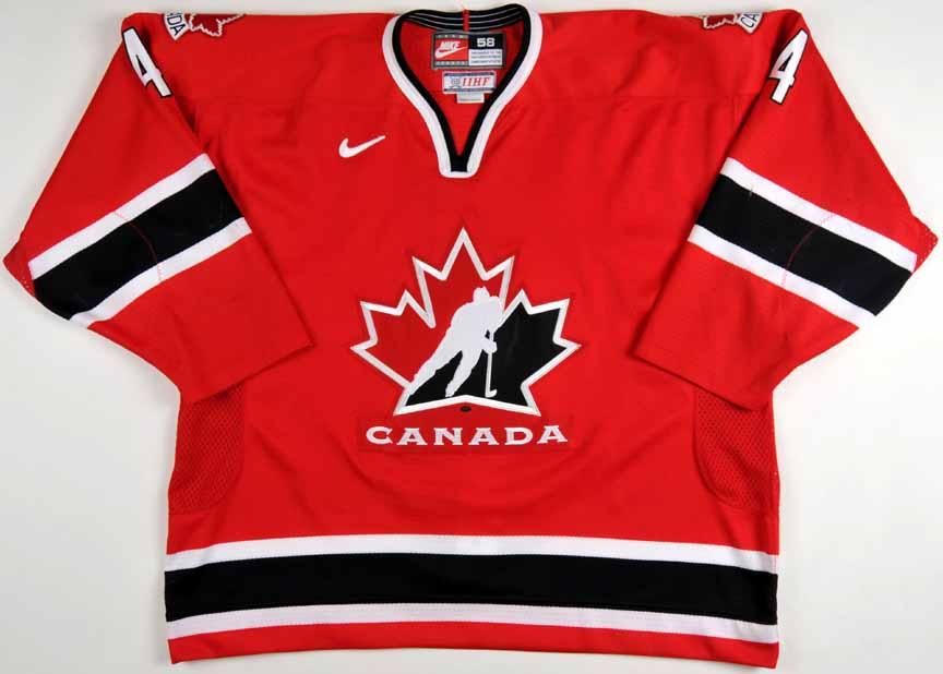hot sale online 0a66e 3c5d2 2002 Jay Bouwmeester Team Canada World Juniors Game Worn ...