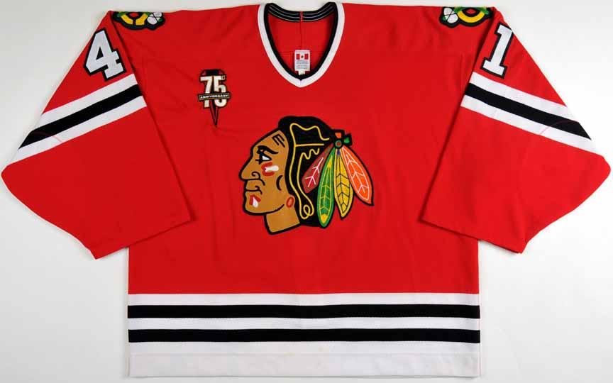 0b15a3dcf3f 2000-01 Jocelyn Thibault Chicago Blackhawks Game Worn Jersey -