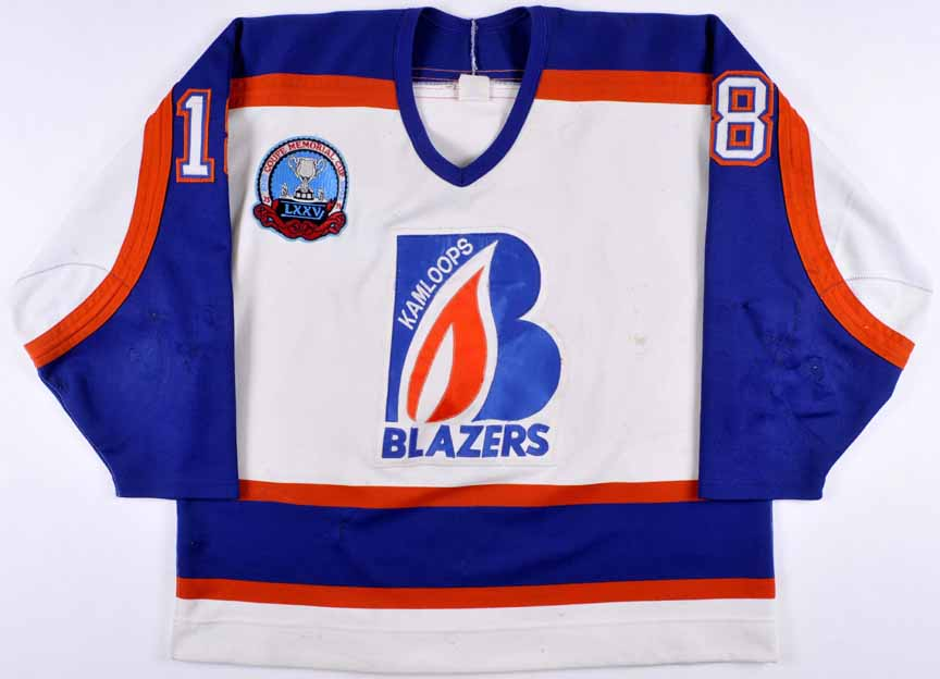 "1993 Tyson Nash Kamloops Blazers Game Worn Jersey – ""75-Year Memorial Cup  Anniversary 24286ff5a"