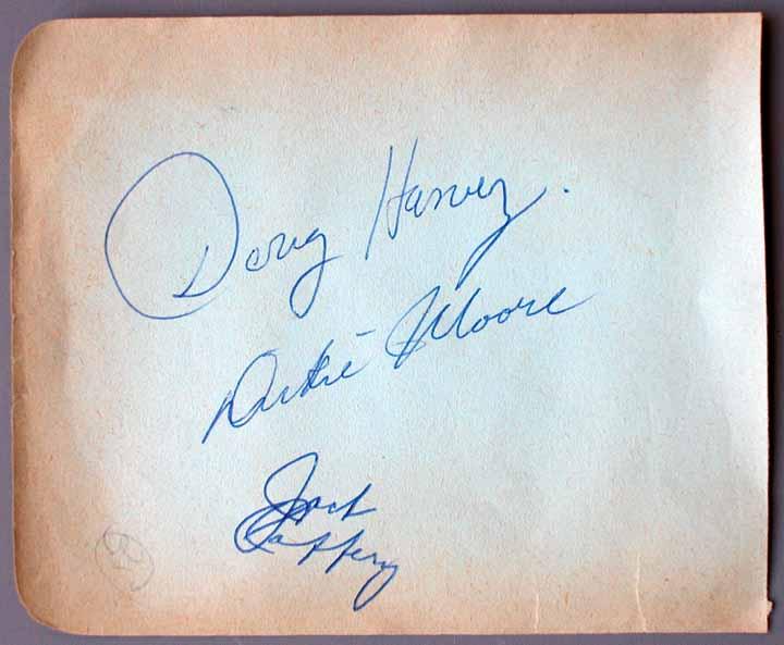 Doug Harvey Signed Autograph Book Page - JSA Letter ...