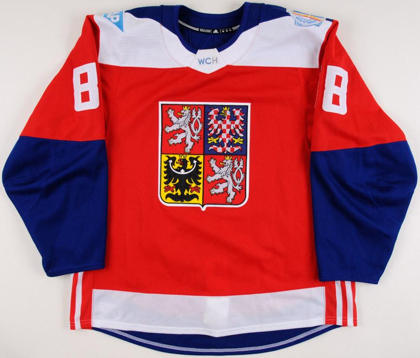 2016 David Pastrnak Team Czech World Cup of Hockey Game Worn Jersey ... 25adb4f0946
