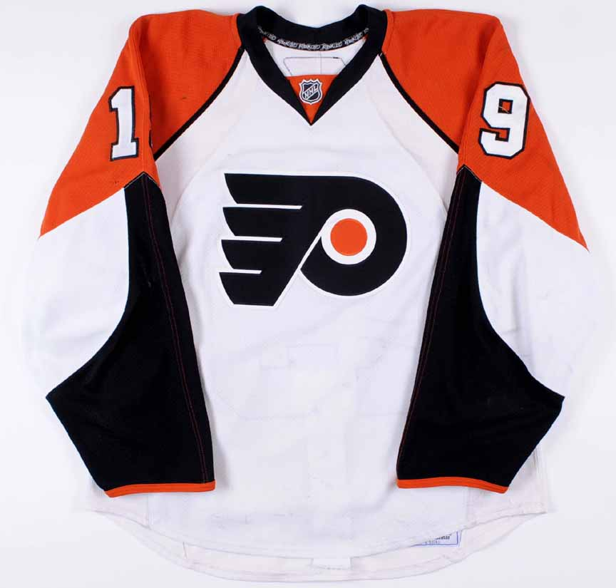 1194783a3 2007-08 Scott Hartnell Philadelphia Flyers Game Worn Jersey - Photo Match -  Team Letter