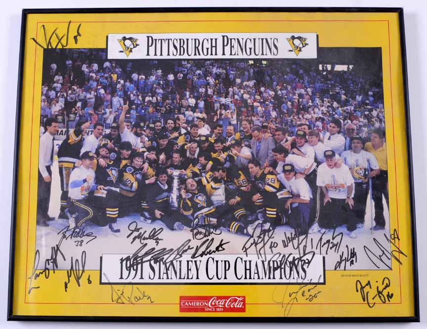 Pittsburgh Penguins 1991 Stanley Cup Champions Autographed Poster