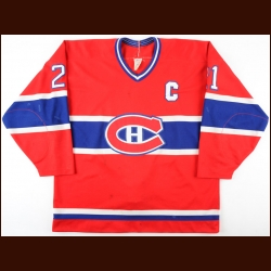 1989-90 Guy Carbonneau Montreal Canadiens Game Worn Jersey - 1st Captain's Jersey - Photo Match