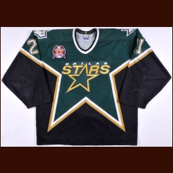 "1998-99 Guy Carbonneau Dallas Stars Stanley Cup Finals Game Worn Jersey - The Guy Carbonneau Collection – ""1999 Stanley Cup Finals"" - Photo Match - Guy Carbonneau Letter"