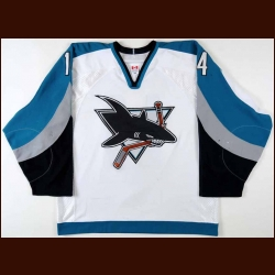 2003-04 Jonathan Cheechoo San Jose Sharks Game Worn Jersey - Photo Match - Team Letter