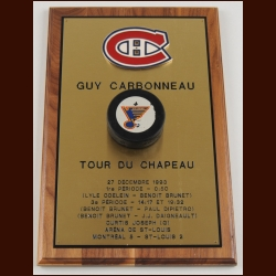 Guy Carbonneau Montreal Canadiens Hat Trick Award With Game Puck – Autographed - Guy Carbonneau Letter