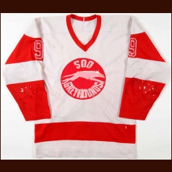 Late 1970's Brian Gualazzi Sault Ste Marie Greyhounds Game Worn Jersey - Gretzky Era