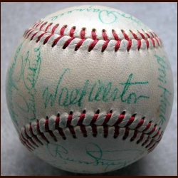 1954 Brooklyn Dodgers Team Signed Ball - 23 Signatures Including Walt Alston, Jackie Robinson, Roy Campanella & Gil Hodges