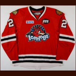 "2007-08 Troy Brouwer Rockford IceHogs Game Worn Jersey - Photo Match – ""WWW"" - AHL Letter"