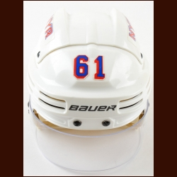 "Rick Nash New York Rangers White Bauer Game Worn Helmet – Oakley Faceshield – ""Garden of Dreams"" - Team Letter"