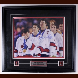 Mario Lemieux & Joe Sakic Team Canada Autographed 2002 Olympic Gold Medal Ceremony Photo