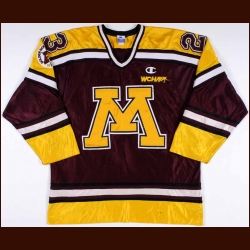 "1996-97 Dan Woog University of Minnesota Golden Gophers Game Worn Jersey - ""Golden Gophers 75-year Anniversary"""