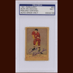 Alex Delvecchio 1951 Parkhurst – Detroit Red Wings – Autographed – Rookie – PSA/DNA