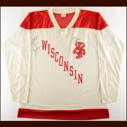 Circa Late 1970's University of Wisconsin Badgers Practice Jersey Autographed by Badger Bob and Mark Johnson – Badger Bob Deceased