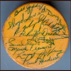 1964-65 Detroit Red Wings Team Signed Original Six Puck - 19 Signatures Including Howe, Crozier and Abel