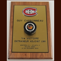 Guy Carbonneau Montreal Canadiens First Victory as an Assistant Coach Award With Game Puck – Autographed - Guy Carbonneau Letter