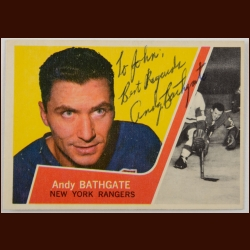 1963-64 Topps Andy Bathgate NY Rangers Autographed Card – Deceased