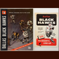 1968-69 Dallas Black Hawks Hockey Magazine and 1967-68 Line-Up Card