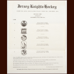 1973-74 WHA Jersey Knights Advertising Sheet