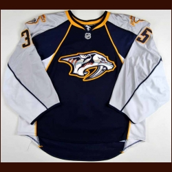 2009-10 Pekka Rinne Nashville Predators Game Worn Jersey - Photo Match - Team Letter