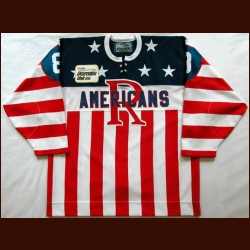 "2001-02 Luc Theoret Rochester Americans Game Worn Jersey - ""Frontier DSL"" - Team Letter"