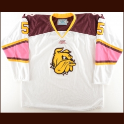 2011-12 University of Minnesota-Duluth Game Worn Jersey – Player #5 – Alternate – Breast Cancer Awareness Night