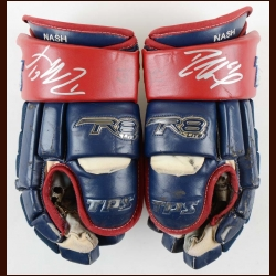 Rick Nash Columbus Blue Jackets Red & Blue TPS Game Worn Gloves – Autographed - Team Certificate
