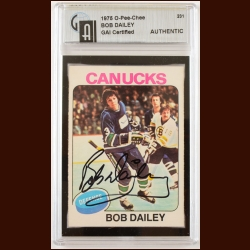 1978-79 OPC Bob Dailey Vancouver Canucks Autographed Card – Deceased